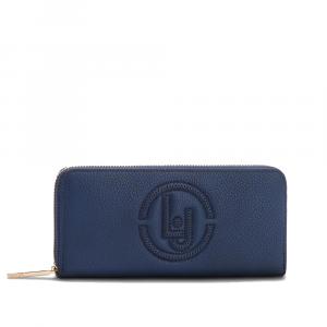 Portafoglio Zip around con logo frontale colore blue navy - LIU JO
