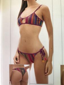 Bikini top e slip laccetti Rainbow Changit Taglia L