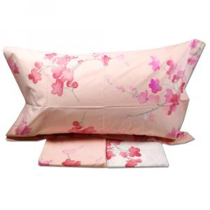 Lenzuola matrimoniale effetto-copriletto MIRABELLO PESCO in FIORE rosa