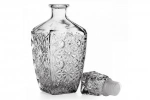 Bottiglia in vetro con tappo per liquori cm.10,3x10,3x25,1h