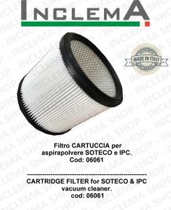 Filtro CARTUCCIA per  aspirapolvere SOTECO e IPC Cod: 06061