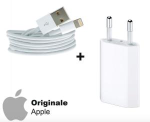 Cavo originale apple iphone + caricatore originale apple x iphone 5/6/7/8