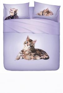 Set lenzuola piazza e mezza BASSETTI LOVELY CATS effetto copriletto