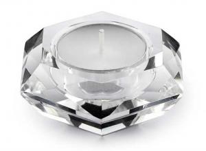Portacandela in cristallo esagonale cm.3,5h diam.7,5