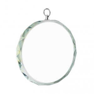 Madeglia rotonda in vetro con bordo decorato cm.7x7x1,2h