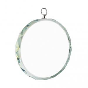 Medaglia rotonda in vetro con borso decorato cm.8x8x1,2h