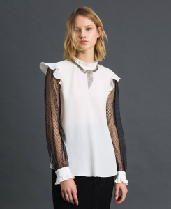 SHOPPING ON LINE BLUSA IN CREPE DE CHINE E TULLE TWINSET PREVIEW FALL  WINTER 19/20 NEW COLLECTION WOMEN'S