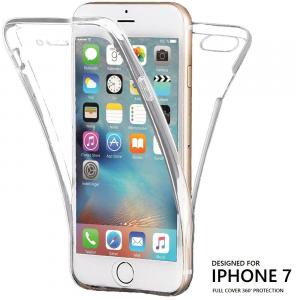 Cover CustodiaTrasparente per iPhone 7/8 Fronte Retro 360 Full Body TPU o PANNO
