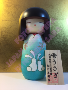 Bambola Kokeshi - Conigli di Neve Azzurra (Yukiusagi)