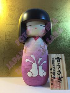 Bambola Kokeshi - Conigli di Neve Rosa (Yukiusagi)
