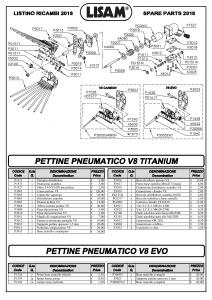 Ricambi per pettine V8 Titanium e V8 Evo Lisam