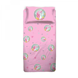 Completo lenzuola Bambina Letto singolo UNICORNO rosa cotone