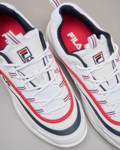 Sneaker Ray low bianche con rifiniture rosse e blu
