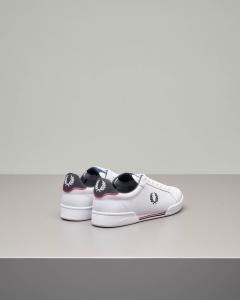 Sneakers bianche in pelle con logo ricamato