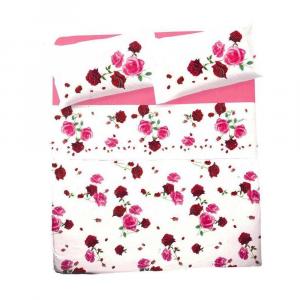 Completo lenzuola matrimoniali floreali MAXI BOUQUET rose fuxia