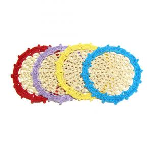 Set 4 SOTTOBICCHIERI beige con bordo colorato all'uncinetto