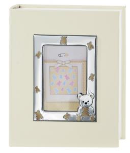 Album foto cornice in argento con orsetti dorati cm.21x25h