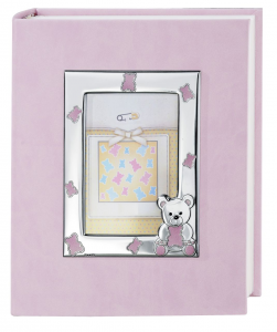 Album foto cornice in argento con orsetti rosa cm.21x25h