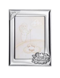 Cornice portafoto in argento con angeli cm.12x16h