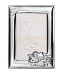 Cornice portafoto in argento con angeli cm.17x21h