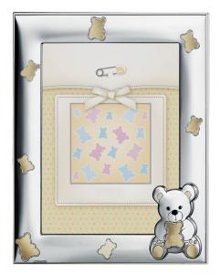 Cornice portafoto in argento con orsetti cm.17x21h