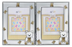 Cornice portafoto doppia in argento con orsetti dorati cm.24,5x16h