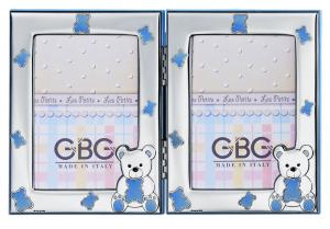 Cornice portafoto doppia in argento con orsetti celesti cm.24,5x16h