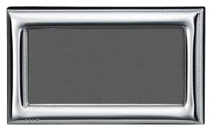 Cornice portafoto orizzontale in argento stile Perles retro in legno cm.14,5x8,5h