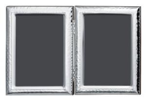 Cornice portafoto Doppia in argento stile Martellata retro in legno cm.27,5x18,5h