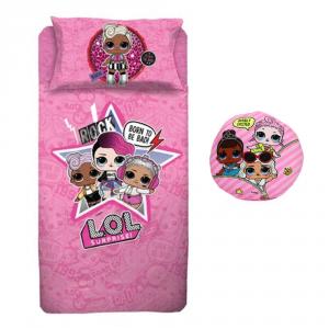 LOL SURPRISE lenzuola letto singolo + cuscino rotondo per bambini