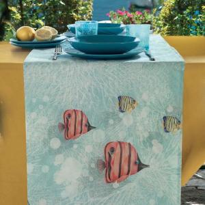 Runner da tavolo 50x150 cm cotone GABEL Atlantis pesci fantasia marina