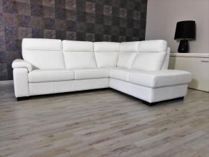 VERGIL - Divano angolare destro in pelle bianca a 5 posti maggiorati con schienale alto e angolo terminale – Design contemporaneo