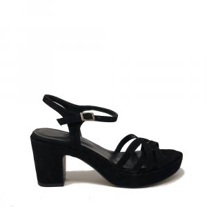 Sandali col tacco in camoscio colore nero - TATOO PINTO