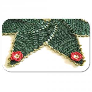 CENTRINO a forma di stella verde e oro per Natale all'uncinetto