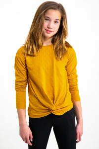 T-Shirt Manica Lunga Con Dettaglio Nodo Gialla Ragazza