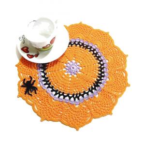 CENTRINO arancione con 4 sottobicchieri per Halloween all'uncinetto