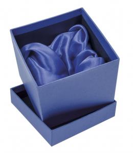 Scatola blu con interno in raso cm.12x12x11h