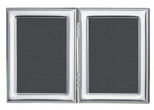 Cornice portafoto Doppia in argento liscia retro in legno cm.24,5x16h
