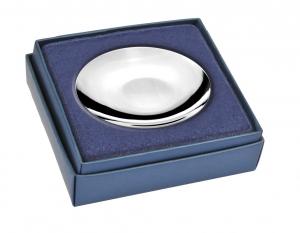 Piattino rotondo in silver plated cm.3h diam.9