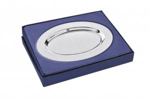 Piattino ovale liscio in silver plated stile Cardinale cm.14,9x10,5x4h