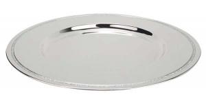 Sottopiatto argentato argento in silver plated con brillantini cm.2h diam.31