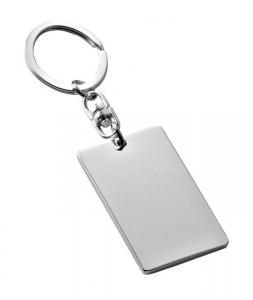 Portachiavi piastrina rettangolare silver plated