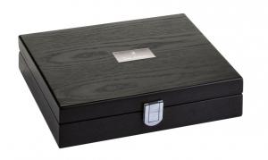 Scacchi style lux box legno in silver plated cm.23x23x5h