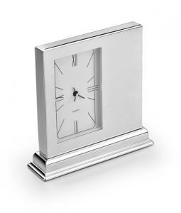 Orologio sveglia da tavolo in silver plated