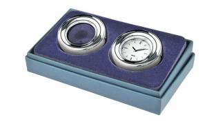Orologio con lente silver plated cm.2,5h diam.8
