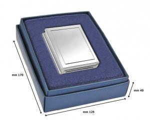 Orologio portafoto rettangolare silver plated cm.10x1,5x6,5h