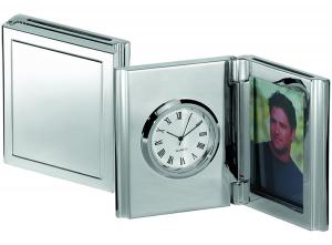 Orologio portafoto rettangolare silver plated