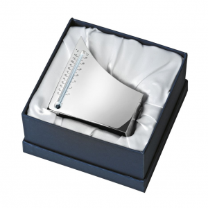 Termometro igloo lux box in silver plated cm.9,1x3x10h