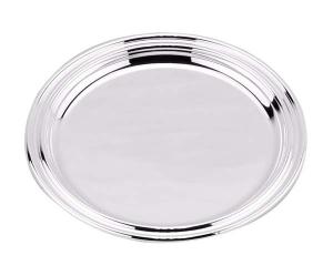 Vassoio tondo argentato Argento stile Inglese cm.1,5h diam.22
