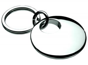 Portachiavi tondo silver plated cm.7x4x2h